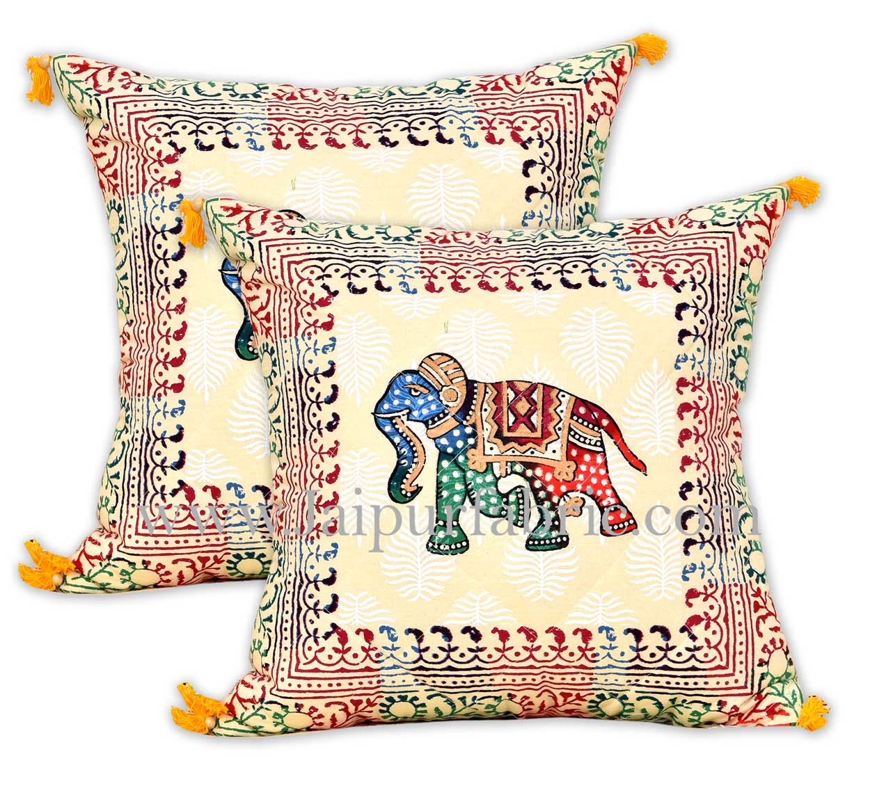 Satrangi elephants in sparkling sand diwan set