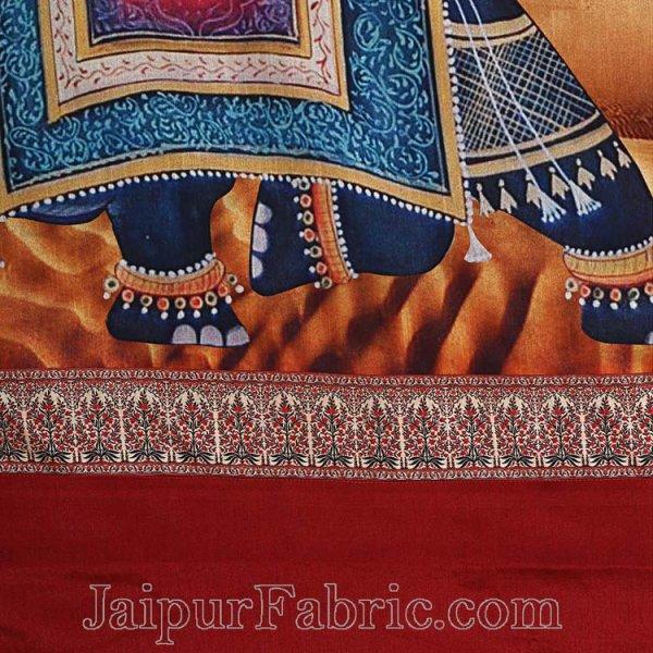 Digital Print Silk Bedsheet Royal Elephant
