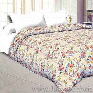 Muslin Cotton Double bed Reversible mulmul Dohar in multicolour motif floral print