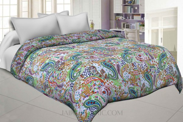 Multi Color Paisley Pattern With Thread Hand Work(Kantha) Gudri ( Bed Cover)