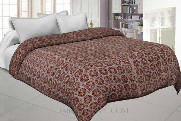 Circular Brown Cotton Gudri Katha Work Dohar Comforter