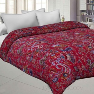 Red Cotton Gudri Katha Work Dohar Comforter