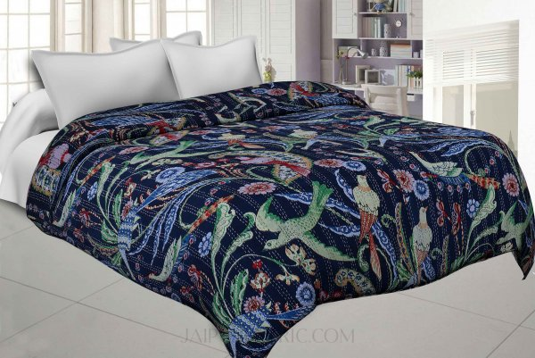 Navy Blue Cotton Gudri Katha Work Dohar Comforter