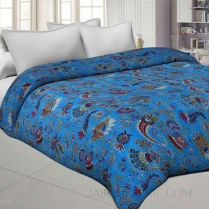 Royal Blue Cotton Gudri Katha Work Dohar Comforter