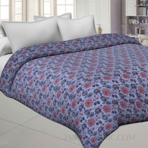Sky Blue Cotton Gudri Katha Work Dohar Comforter
