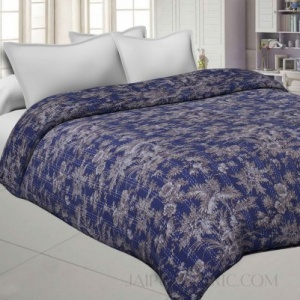 Purple Cotton Gudri Katha Work Dohar Comforter
