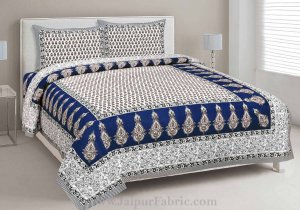 Double Bedsheet Sapphire Blue Printed Cotton 2 Pillow Cover