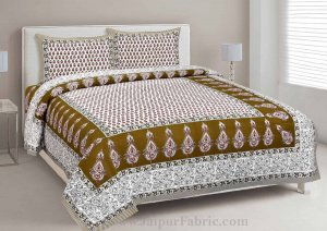 Double Bedsheet Mehndi Green Printed Cotton 2 Pillow Cover