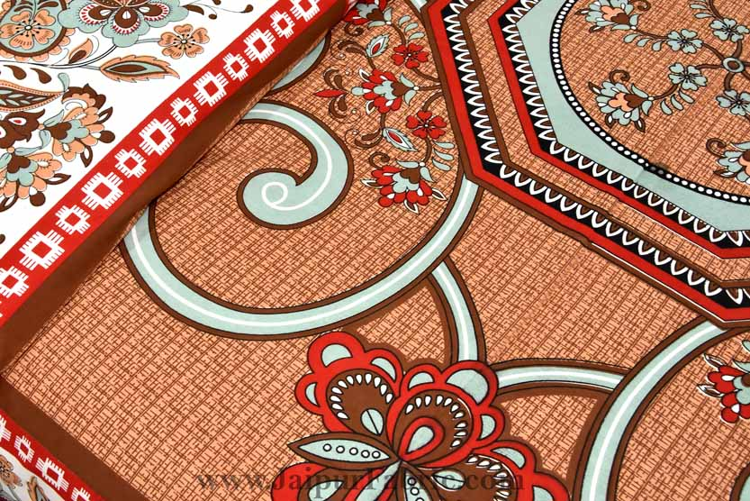 Double Bedsheet Orangish Rangoli Cotton 2 Pillow Cover