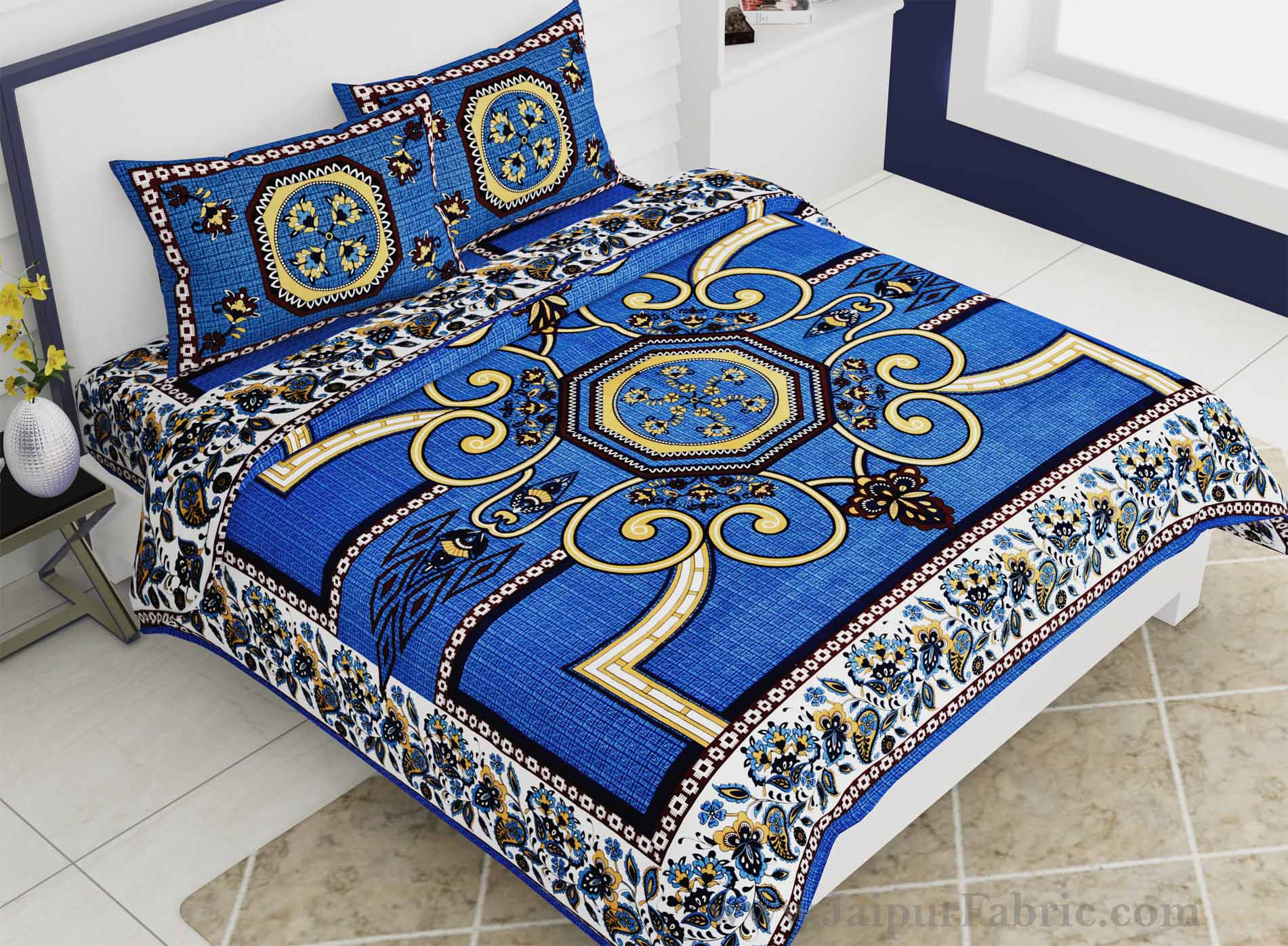 Double Bedsheet Blueish Rangoli Cotton 2 Pillow Cover