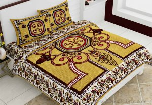 Double Bedsheet Greenish Rangoli Cotton 2 Pillow Cover