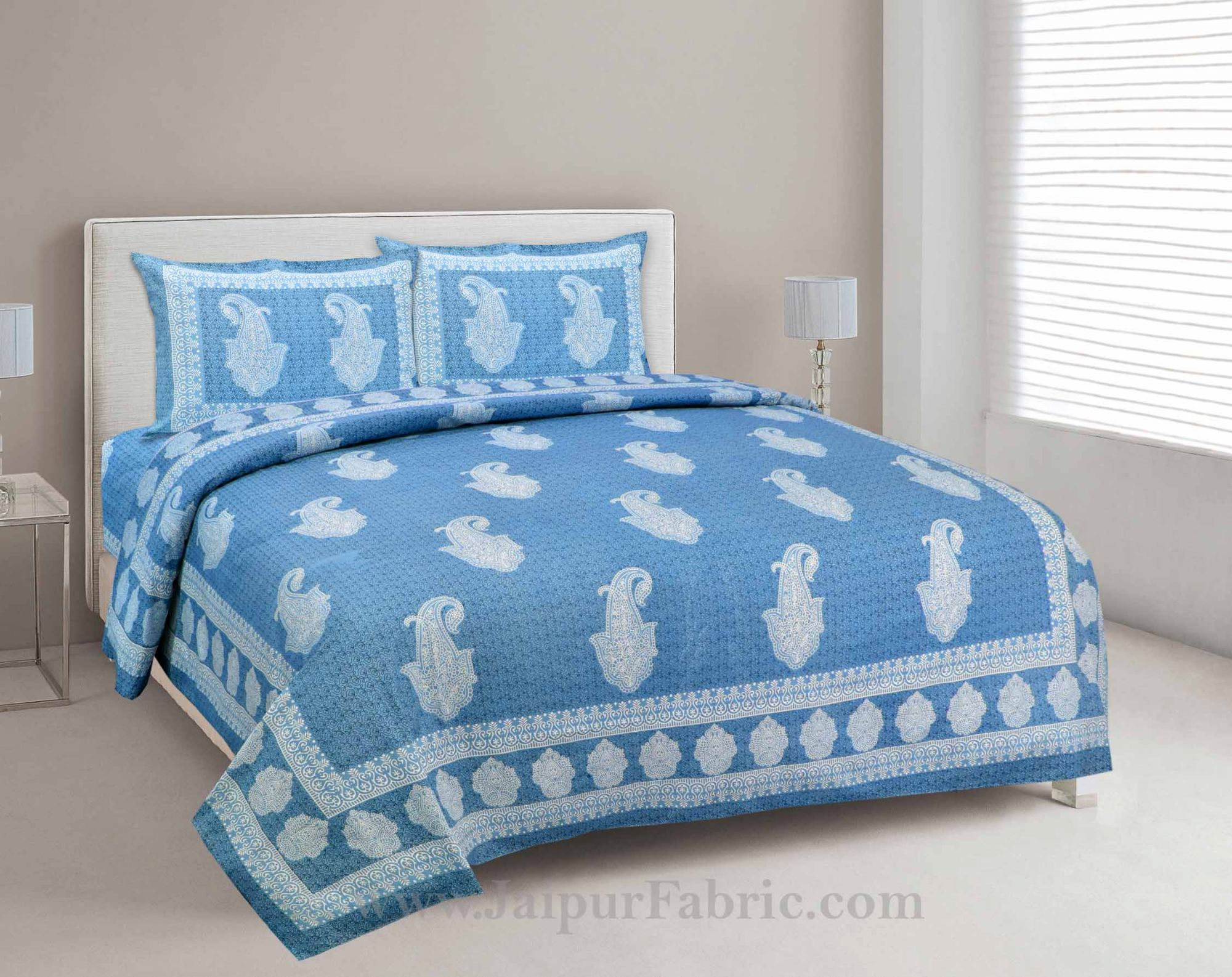 Peerless Paisley On Sky Blue Bedsheet