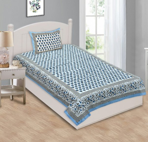 Multi Blue Floral Single Bedsheet with One Pillow Cover