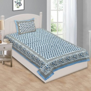 Multi Blue Floral Single Bedsheet with Two Pillow Cover