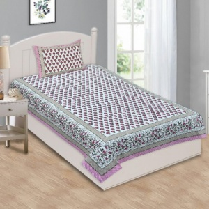 Multi Pink Floral Single Bedsheet with One Pillow Cover