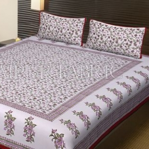 Red Border White Base Leaf Pattern Block Print Cotton Double Bed Sheet