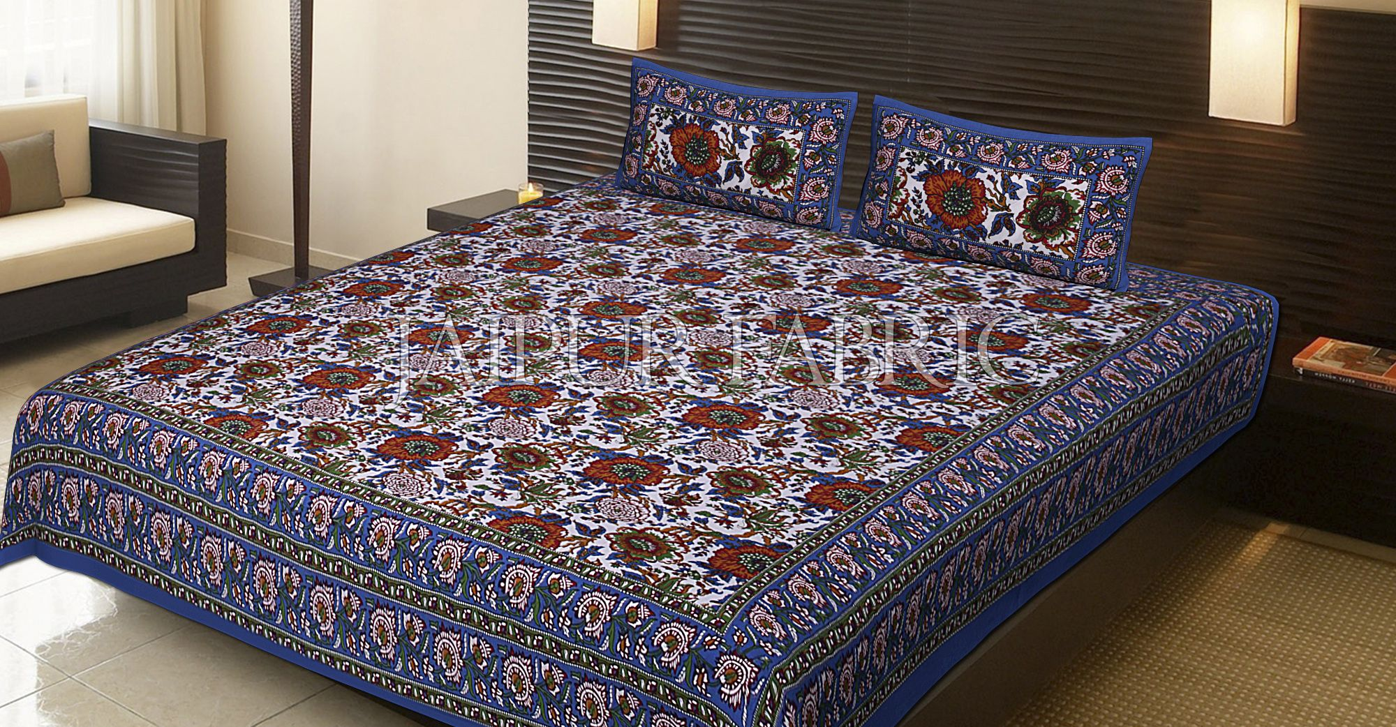 Blue Border Flower Pattern Screen Print Double Bed Sheet