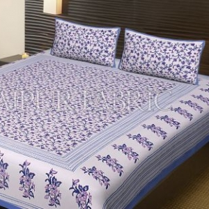 Blue Border Cream Base Leaf Pattern Block Print Cotton Double Bed Sheet