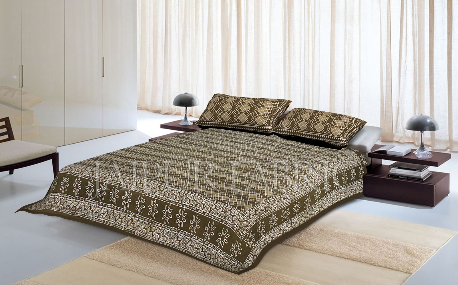 Green Border Zig Zag Pattern Dhabu Print Cotton Double Bed Sheet