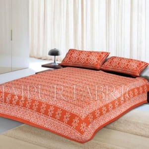 Orange Border Zig Zag Pattern Dhabu Print Cotton Double Bed Sheet