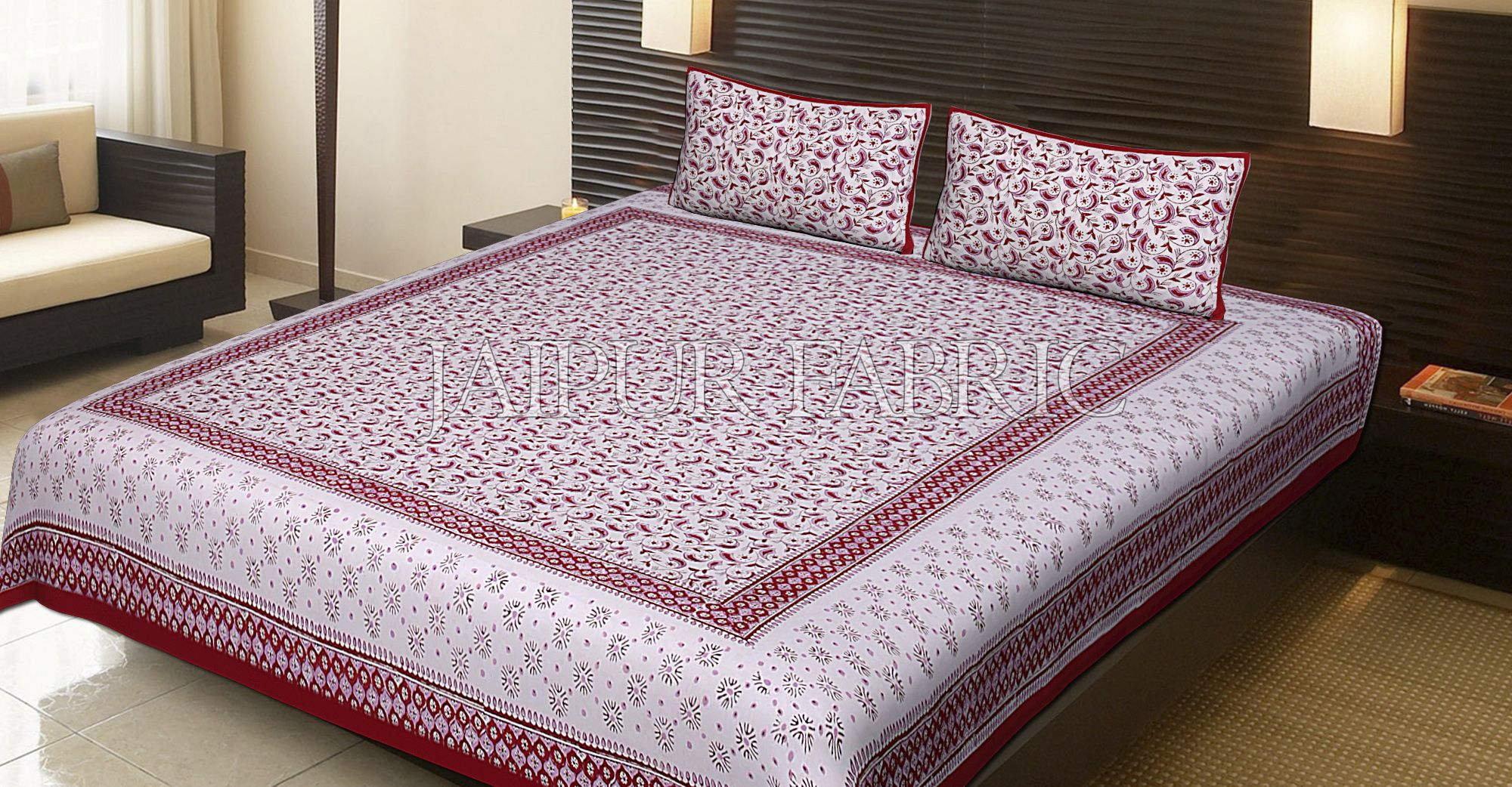 Red Border Leaf Pattern Block Print Cotton Double Bed Sheet