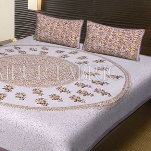 Brown Border Leaf Pattern Block Print Cotton Double Bed Sheet