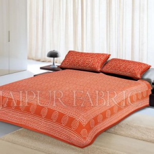 Orange Base Leaf Pattern Dhabu Print Cotton Double Bed Sheet