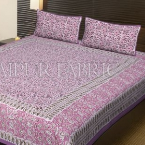 Purple Base Flower Pattern Block Print Cotton Double Bed Sheet
