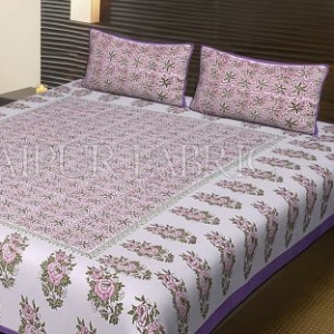 Purple Border White Base Leaf Pattern Block Print Cotton Double Bed Sheet