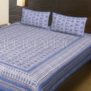 Blue Border White Base Leaf Pattern Block Print Cotton Double Bed Sheet