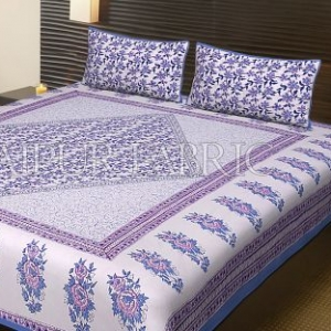 Blue Border Flower Pattern Block Print Cotton Double Bed Sheet