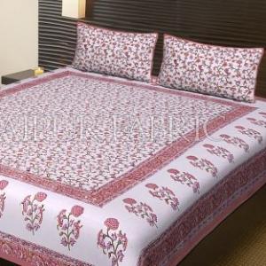 Peach Border White Base Flower Pattern Block Print Cotton Double Bed Sheet