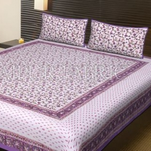 Purple Border White Base Flower Pattern Block Print Cotton Double Bed Sheet