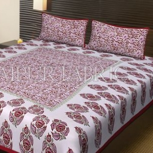 Red Border White Base Floral Pattern Block Print Cotton Double Bed Sheet