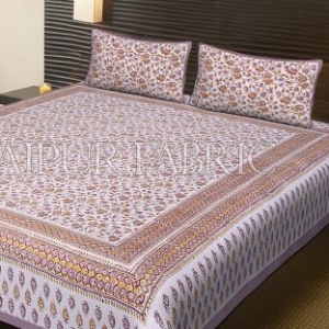Purple Border White Base Floral Pattern Block Print Cotton Double Bed Sheet