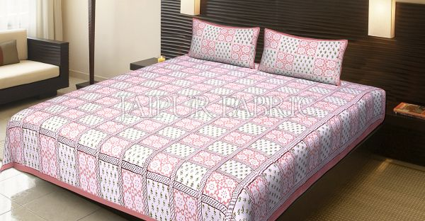 Pink Border Square Pattern Block Print Cotton Double Bed Sheet