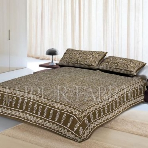 Green Border Floral Pattern Dhabu Print Cotton Double Bed Sheet