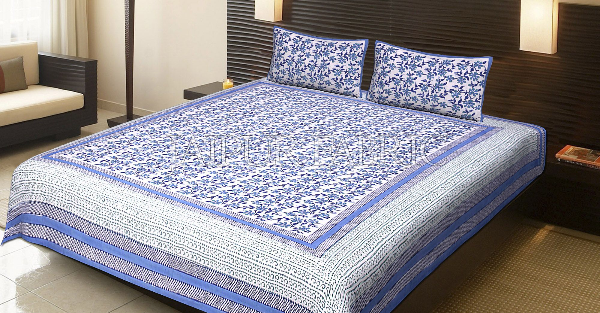 Blue Border White Base Flower Pattern Block Print Cotton Double Bed Sheet