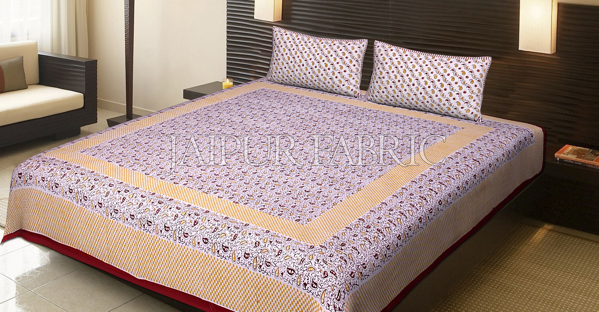 Maroon Border Multi Color Floral Pattern Block Print Cotton Double Bed Sheet