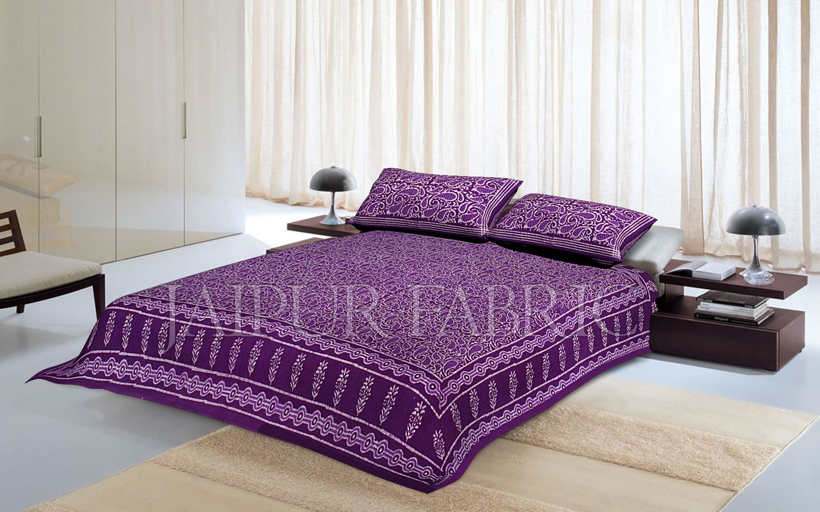 Purple Border Floral Pattern Dhabu Print Cotton Double Bed Sheet
