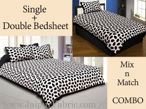 COMBO54- Set of 1 Double Bedsheet and  1 Single Bedsheet With  3 Pillow Cover