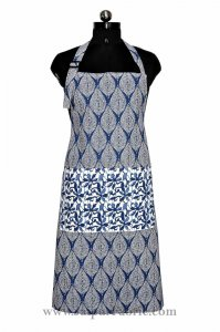 Navy blue retro print apron