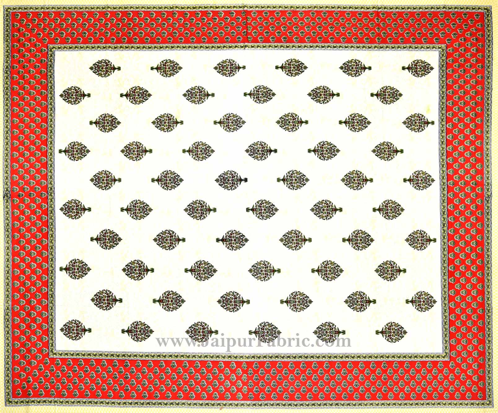 Gorgeous Glaze cotton Red Paan Double Bedsheet