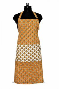 Orange flower bouquet print apron