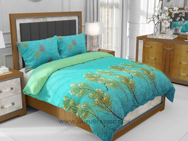 Blue Tropical Trees King Size Bedsheet