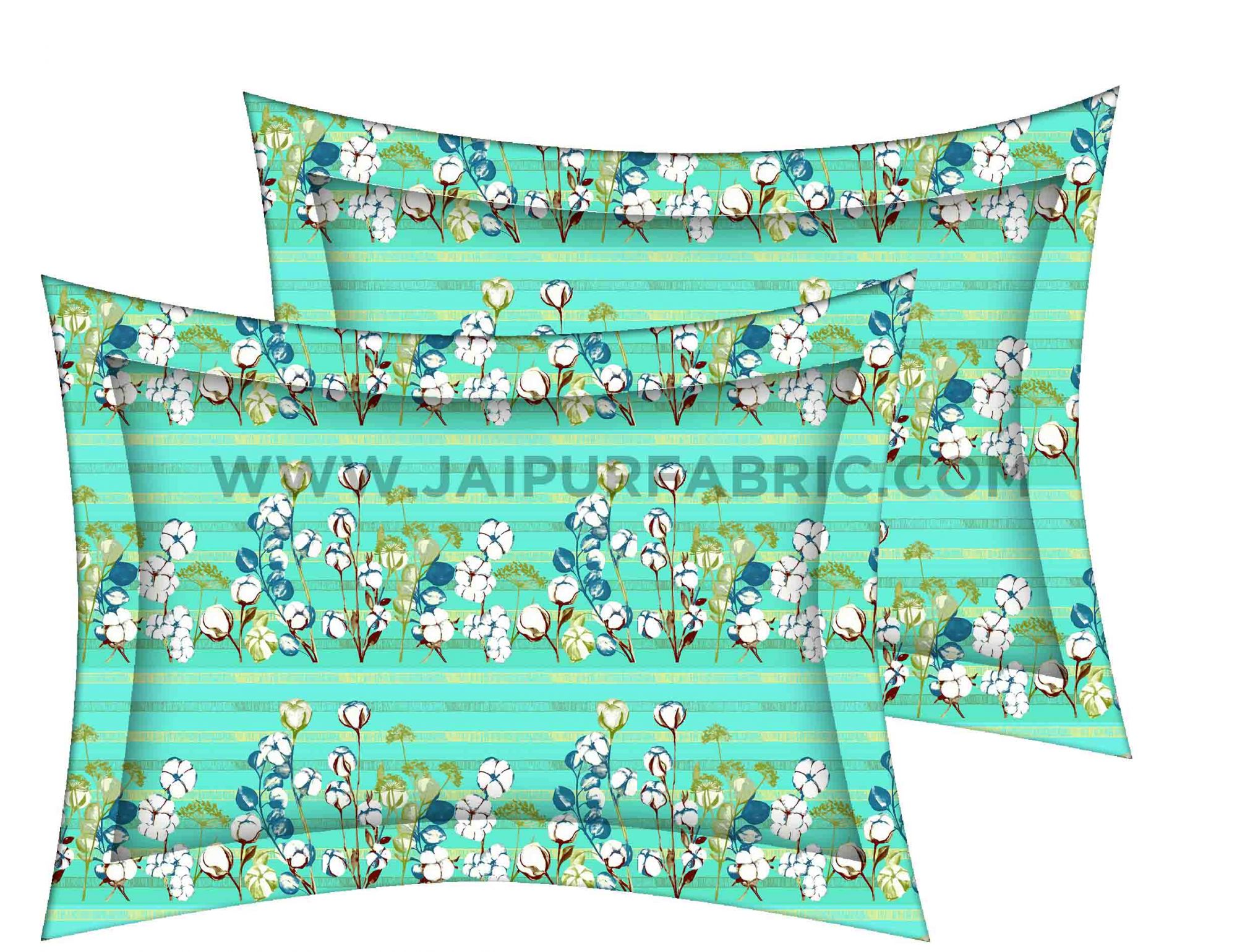 Mint Green Floral Delight King Size Bedsheet
