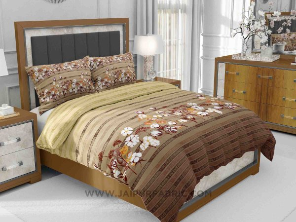 Brown Floral Delight King Size Bedsheet