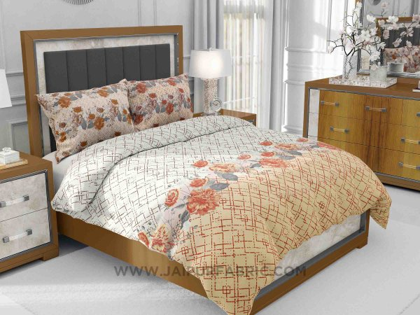 Brown Blooms King Size Bedsheet