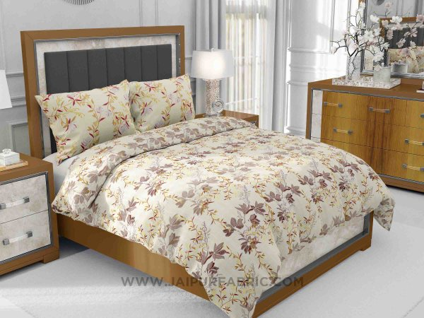 Brown Floral Aroma King Size Bedsheet