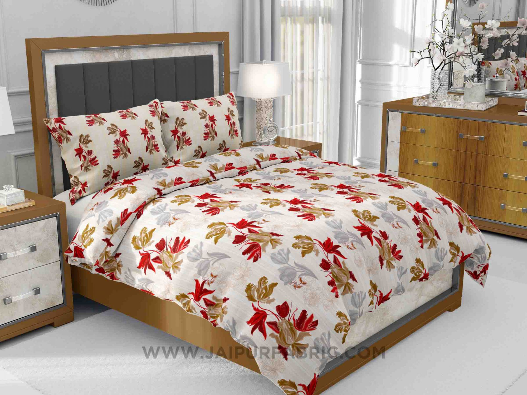 Red Floral Fete King Size Bedsheet